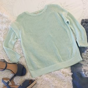 j. crew • mint crochet crew neck sweater